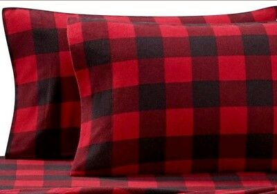 Buffalo Plaid Flannel Standard Pillowcases Set of 2 Seasons Collection ()