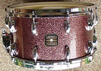 RARE 1980 GRETSCH 7 1/2 x 14 BURGUNDY sparkle snare drum 100% original