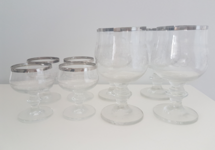 Vintage port and wine glasses