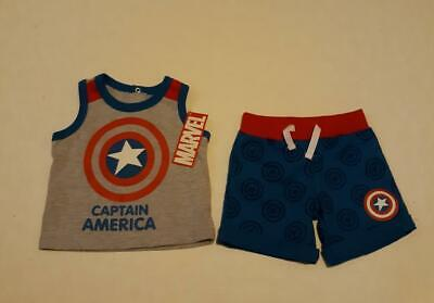 Captain America 2 Outfit (Marvel- Captain America 2 piece summer tank infant outfit, size 3-6 months,)