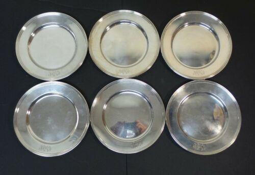 """SET/6 WHITING MFG. CO. STERLING SILVER 6"""" BREAD & BUTTER PLATES, MONOGRAM"""