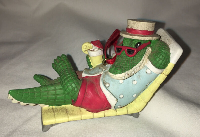 ALLIGATOR Lounging Beach Chilling Sand Tourist Christmas Ornament