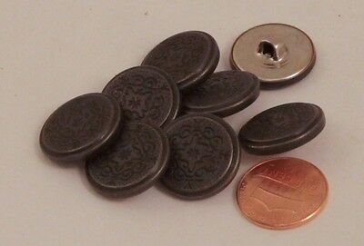 Charcoal Metal Finish (8 Silver Tone Charcoal Finish Puffed Metal Buttons 3/4