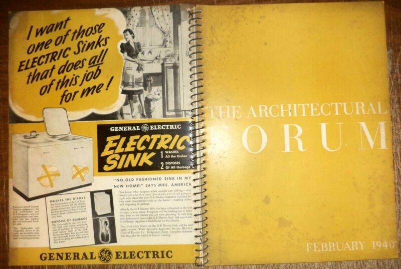 VINTAGE FEBRUARY 1940 ARCHITECTURAL FORUM HOME BUILDINGS MODERN DESIGNS HISTORY