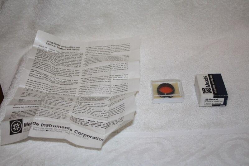 "Meade 1.25 #21 Orange Telescope Eyepiece Filter - Excellent Condition ""JAPAN"""