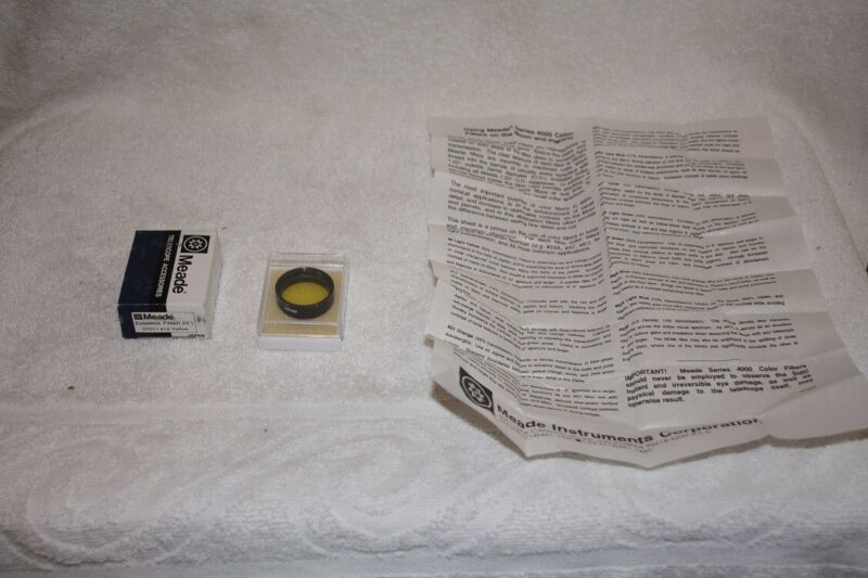 """Meade 1.25 #12 Yellow Telescope Eyepiece Filter - Excellent Condition """"JAPAN"""""""