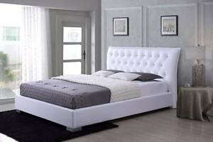 【Brand New】PU Leather Bed In White With Crystal Diamond Springvale Greater Dandenong Preview