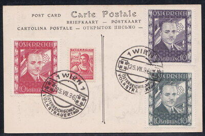 3 pieces Austria 1936 Engelbert Dollfuss Used on Card Reproduction Stamp sv
