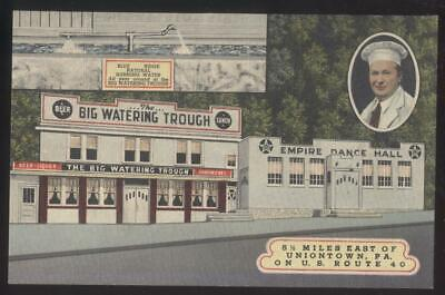 Postcard UNIONTOWN Pennsylvania/PA  Empire Dance Hall & Watering Trough 1930's Dancing Water Bowl