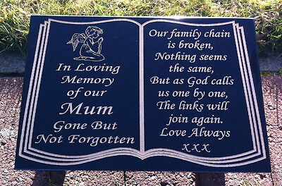 MEMORIAL STONE GRAVE MARKER GRAVE PLAQUE GRANITE, PERSONALISED FREE POSTAGE