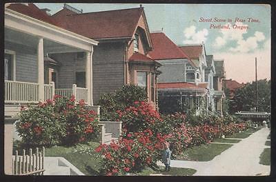 POSTCARD PORTLAND OREGON OR Rose Time Street Scene w Toddler on Sidewalk 1907