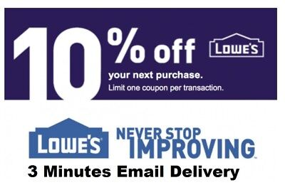 Two 2x Lowes 10% OFF2Coupons-InStore and Online--Fastest Delivery---EXP 9/30/18