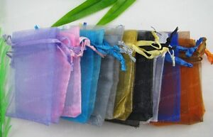 FRE SHIP 100pcs nice mix colour chinese voile jewerys bags 90X70MM JK0538