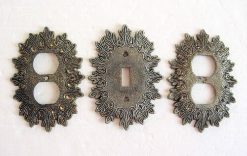 3 Vtg Mid Century Brass Metal Starburst Wall Light Switch Plate & Outlet Covers