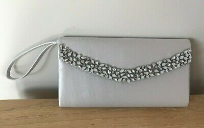 Silver grey EMBELLISHED Satin CLUTCH Bag JACQUES VERT with handle; USED