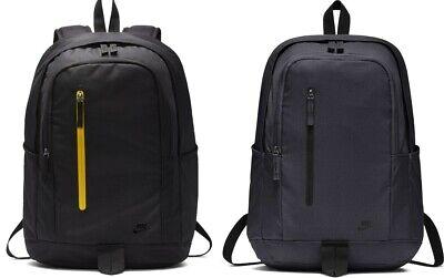 Men?s Nike All Access Soleday Backpack Rucksack Bag Navy 25L Inter Laptop Black