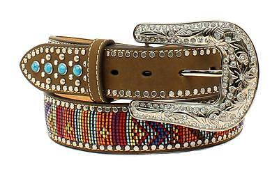 Nocona Western Womens Belt Leather Turquoise Stone Beaded Brown N3522444 Turquoise Beaded Belt