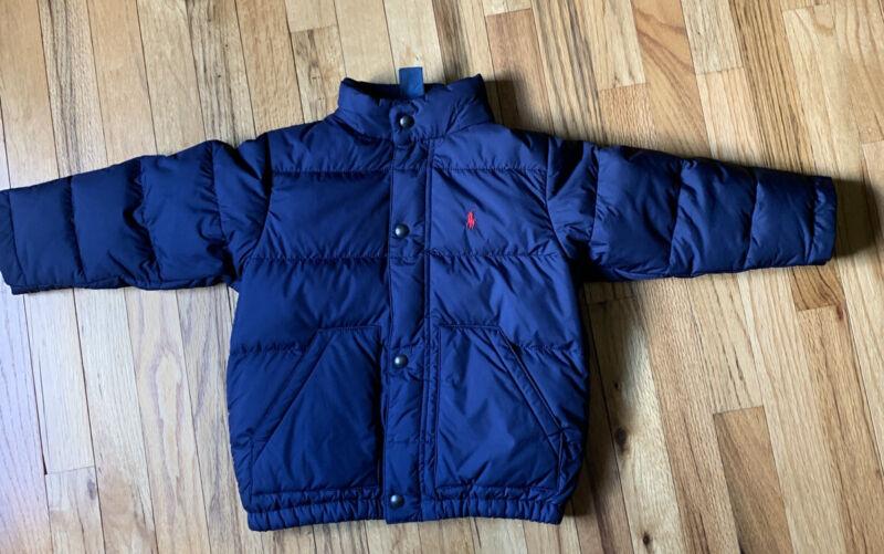 Boys Polo By Ralph Lauren Puffer Jacket Size 3/3T Navy Blue VGUC