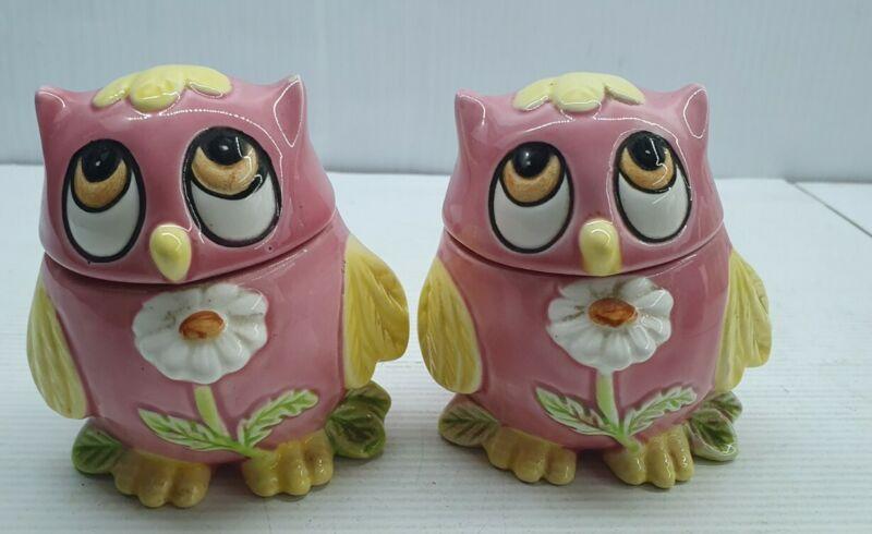 Pink owl retro Vintage Salt and pepper shakers set Japan flower