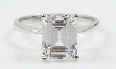 14K WHITE GOLD 3.50 CT EMERALD CUT Wedding Engagement Ring