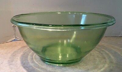 "Vtg Green Uranium Vaseline Depression Glass Hazel Atlas Rare XL 11"" Mixing Bowl"