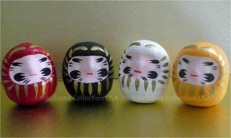 "Set of 4 Japanese 2""H Good Luck Daruma Doll/Red, Black, White,Yellow/Made Japan"