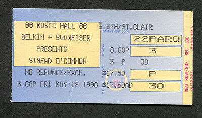 1990 Sinead O'Connor Concert Ticket Stub Cleveland OH The Lion and the Cobra
