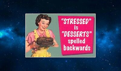 Stressed Is Desserts Spelled Backwards Fridge Magnet. NEW. Funny Retro Quote