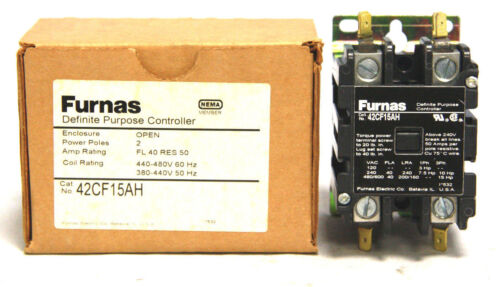 Furnas 42CF15AH Definite Purpose Contactor 40A 50A 2 Pole 440-480V 380-440V Coil