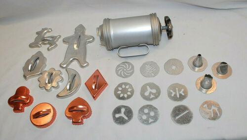 Mirror Cookie Press Kit & Assorted Metal / Aluminum Cookie Cutters Vtg. (S9016)