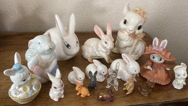 Rabbit Bunny Figurines Japan Porcelain Collectible Ceramic, Plastic Mixed Lot!