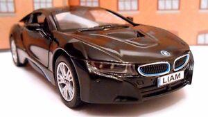 BMW i8 ANY NAME PERSONALISED PLATES Toy Car MODEL boy girl dad BIRTHDAY PRESENT