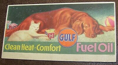 VINTAGE GULF FUEL OIL GOLDEN RETRIEVER DOG + WHITE CAT ADVERTISING INK BLOTTER