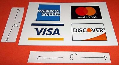 Credit Card Decal Sticker Visa Mastercard Discover American Express 5  X 3 1 4