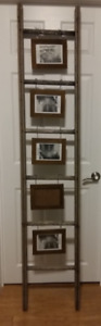 Tall Antique Wooden Ladder Photo Display INDUSTRIAL CHIC DECOR