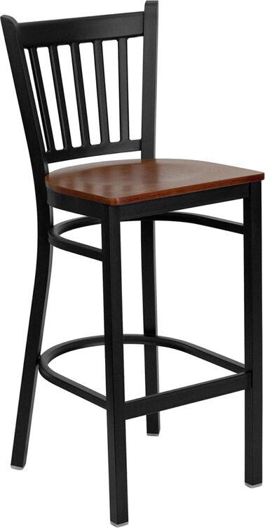 Black Vertical Back Metal Restaurant Bar Stool With Cherry Wood Seat