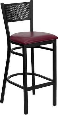 Lot Of 6 Black Grid Back Metal Restaurant Bar Stool - Burgundy Vinyl Seat