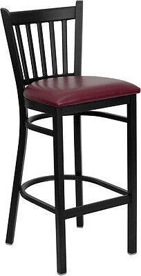 Metal Vertical Back Restaurant Bar Stool With Burgundy Vinyl Seat
