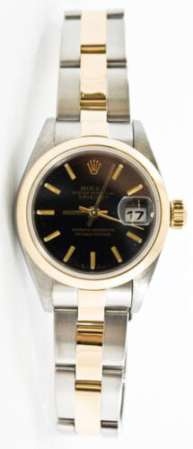 Rolex Datejust 69163 Steel & Gold Oyster Band Black Stick Dial & Smooth Bezel