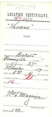 1879 LOCATION CERTIFICATE FOR THOMAS MINE,  PENNINGTON COUNTY, DAKOTA TERRITORY