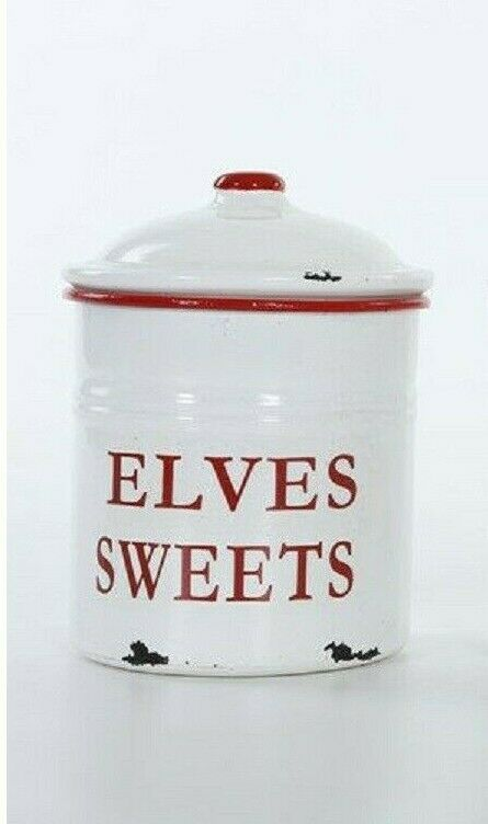 ELVES SWEETS ENAMELWARE CANISTER with LID WHITE RED TRIM CHR