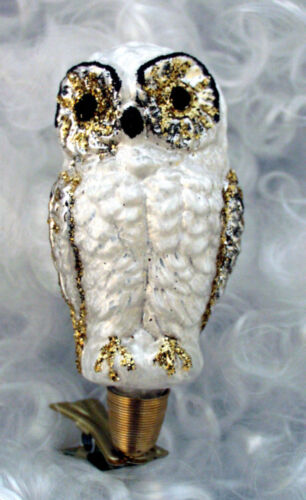 "Clip-On Owl, White ""Frost Finish"" - Blown in Lauscha, Germany"