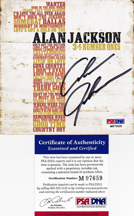 Alan Jackson signed autographed 34 Number Ones CD cover PSA DNA COA CMA Hits #1