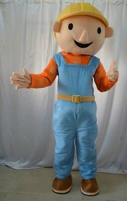 Bob the Builder Character Cartoon Adult Mascot Costume Birthday Party Boys NEW  - Adult Character Costumes