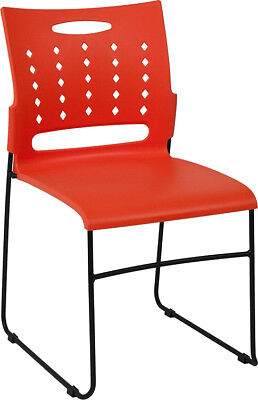 Heavy Duty Sled Base Orange Plastic Office Guest Chair - Waiting Room Chair