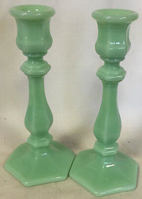 Candleholders Candlestick Holders - Jade Green Glass - Mosser USA - Set of 2