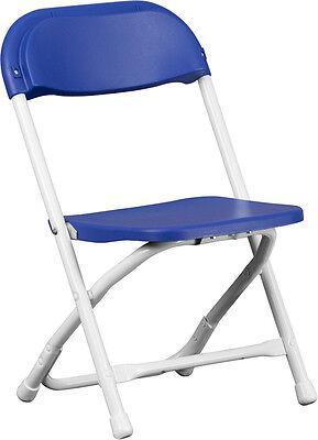 Lot Of 10 Kids Size Blue Plastic Seat Back Steel Frame Folding School Chairs
