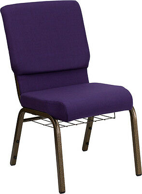 Lot Of 50 18.5 W Royal Purple Fabric Church Chair With Communion Cup Book Rack