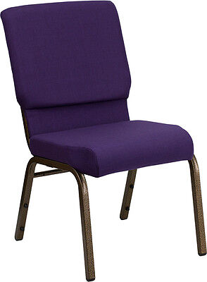 Lot Of 50 18.5 Wide Royal Purple Fabric Stacking Church Chair -gold Vein Frame