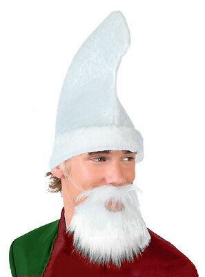 MENS SILLY ELF COSTUME KIT WHITE HAT & BEARD SANTAS HELPER CHRISTMAS FANCY DRESS